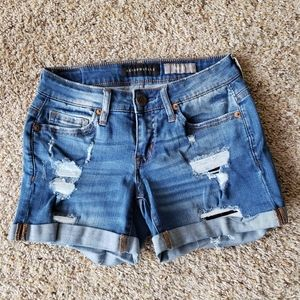Aeropostale Midi Patched Up Distressed Shorts